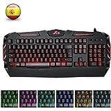 Rii RK900 teclado multimedia Gaming con Feel mecánico, 7 colores retroiluminado. (layout Español)