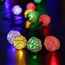 lederTEK 6m 30LED Solar Cadena de Luz de Navidad con Diseño de Bolas de Rota para Árbol de Navidad, Eventos Como la Celebración de Bodas, Patio, Terraza