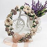 WINOMO Garland Handmade Stoff Rose Blume Perlen Hochzeit Party Band Stirnband für Bridemaid -