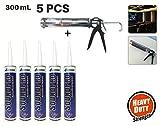 Acepunch 5 Tubes Hochleistung Akustisch Schalldicht Polyurethan Dichtungsmasse Dichtmittel, (300ml) 10.1 oz AP1164