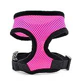 CGDZ 1 STÜCK Verstellbare Weiche Atmungsaktive Hundegeschirr Nylon Mesh Weste Harness für Hunde Welpen Kragen Katze Haustier Hund Brustgurt Leine M Rose