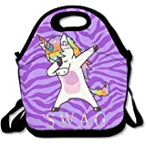 Swag Dabbing Unicorn Handy Portable Zipper Lunch Box Lunch Tote Lunch Tote Bags