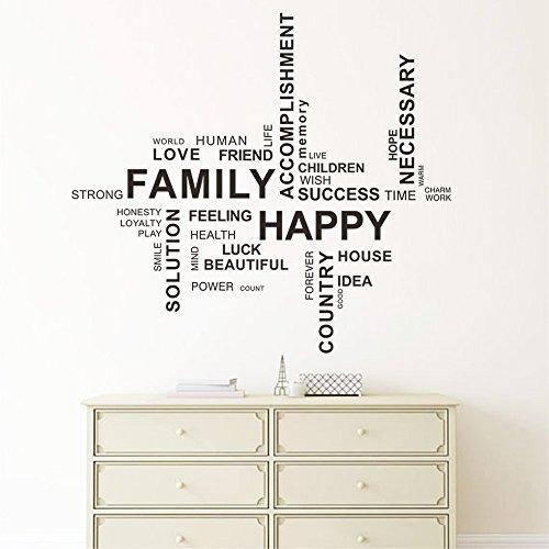 DecalMile FAMILY HAPPY Pegatinas De Pared Irregular Letras and Frases Desmontable Adhesivos Pared Decorativos para Salon Dormitorio