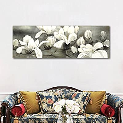 Wieco Art - Magnolia Flower Modern Giclee Canvas Prints Floral Paintings Reproduction Pictures Artwork on Stretched and Framed Canvas Wall Art for Home Decoration Wall Décor
