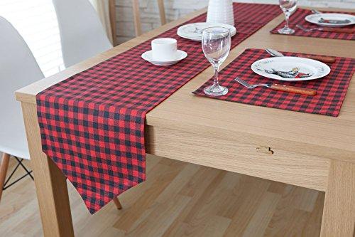 (chezmax Plaid Baumwolle Leinen wendbar Picknick Tischläufer Party Bankett Dekoration Outdoor Tischdecken ohne Lange Fransen für Esstisch Schwarz und Rot 30,2x 199,9cm)