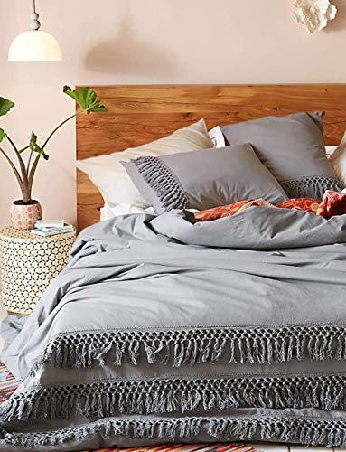 mit Quaste, für Kingsize-Betten, Baumwolle, Grau, 244 x 104 cm ()