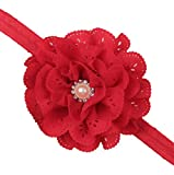 Baby Girl Red Eyelet Flower Headband With Pearl Crystal Center