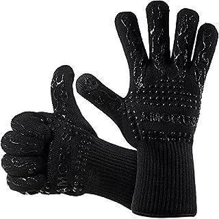 Grillhandschuhe, 1 Paar Amorus Ofenhandschuhe, hitzebeständig bis zu 500°C, , Extra lange Topfhandschuhe, Backhandschuhe-schwarz (Schwarz)