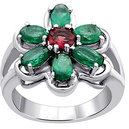Orchid Jewelry Unisex Damen - Sterling-Silber 925 Sterling-Silber 925 Rund Oval Pink Green Smaragd, rosa Turmalin (Birthstone Smaragd Ringe)