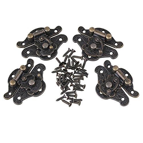 4 Stück Vintage Verschluss Latch Catch für Kleine Schmuckschatullen Koffer Kabinett Bronze (28x23mm / 1,1