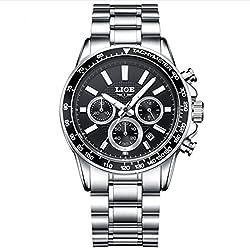LIGE Chronograph Sport Mens Quartz Watch, Steel Black Case with Stainless Steel Strap