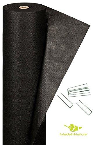 Géotextile noir + sardine biseautée anti pousse de mauvaises herbes / Géotextile pour pelouse synthétique / Dimensions aux choix / MadeInNature® (1x2 m)