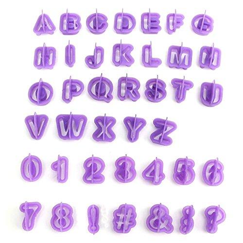 Drawihi, set di 40 stampi per dolci a forma di lettere dell'alfabeto, con manico, utensili decorativi per dolci e biscotti