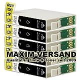 NEUSTE CHIPS funktionieren 100%ig in allen Druckern: 5x Tintenpatronen Set kompatibel zu Epson T1631 XL Black (16 XL) mit Chip kein Original kompatibel zu Epson Workforce WF-2010W WF-2500 Series WF-2510WF WF-2520NF WF-2530WF WF-2540WF WF-2630WF WF-2650WF WF-2660DWF WF-2700 Series WF-2750 WF-2760