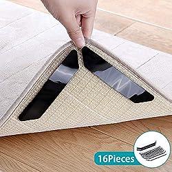 16 pcs Tapis Grippers -mise à niveau lavable réutilisable autoadhésifs anti à friser et antidérapant tapis grippers coussinets épais premium tapis gripper pour tapis les coins et les bords(noir)