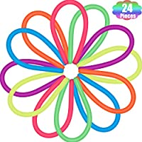Outus Colorful Sensory Stretch Toys Fidget Noodles Stretchy Toys for Reducing Stress Anxiety (24 Pieces)