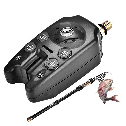 Tbest Angeln Bissanzeiger mit Sound LED Lichter Anzeige Fisch Elektronische Alarmanzeige auf Angelrute Linie (Schwarz)