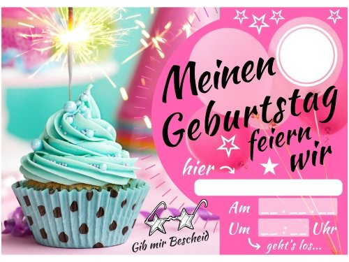 elauelue einladungskarten kindergeburtstag m dchen party geburtstagskarte mit glitzer muffin. Black Bedroom Furniture Sets. Home Design Ideas