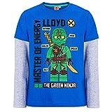 LEGO Ninjago Kollektion 2018 Langarmshirt 98 104 110 116 122 128 134 140 Shirt Jungen Top Blau (Blau-Grau, 128)