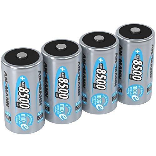 ANSMANN Akku D Mono 8500mAh 1,2V NiMH 4 Stück für Geräte mit hohem Stromverbrauch - Wiederaufladbare Batterien maxE - Akkus für Spielzeug, Taschenlampe, Radio, Modellbau uvm - Rechargeable Battery