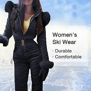 SOWLFE Damen Skianzug, Damen Winter Warmer Schneeanzug Damen Einteiler Skianzug Outdoor Sporthose Skianzug Regenanzug Neoprenanzug Atmungsaktiv und feines Design für den Skisport