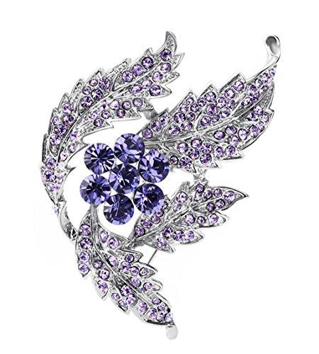 JBHURF Arbeiten Sie purpurrote Kristallblumen-Blumenstrauß-Brosche-Weibliche Süße Elegante Klare Brosche-Broscheart-Koreanische Version Um (Farbe : Purple)