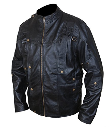 F&H Men's Snake Print Galaxy Guardians Genuine Leather Jacket Black