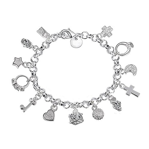 Aikesi bracciale da donna tredici ciondolo braccialetto portafortuna braccialetto femminile braccialetto donna argento gioielli orecchini a catena decorazione