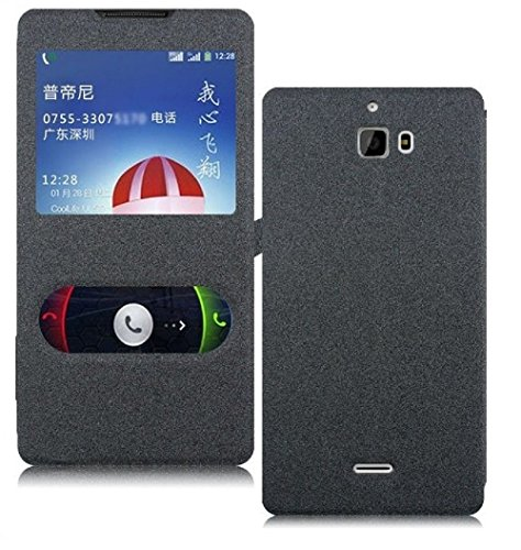 Heartly GoldSand Sparkle Luxury PU Leather Window Flip Stand Back Case Cover For Micromax Canvas Nitro A310 A311 Dual Sim - Best Black