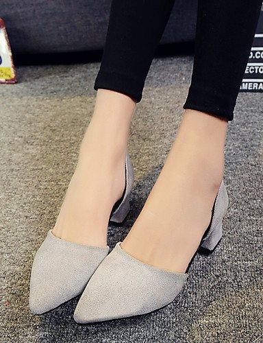 LFNLYX Chaussures Femme-Habillé / Décontracté / Soirée & Evénement-Noir / Gris-Talon Bas-Bout Pointu / Bout Fermé-Talons-Daim gray