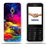 Fubaoda Nokia 230 Hülle, [Bunte Wolken] Transparente Silizium TPU Slim Fit Shockproof Flexible Anti-Scratch Smart Schutz Minimalistische 3D zeitgenössischen Chic Design Protector für Nokia 230