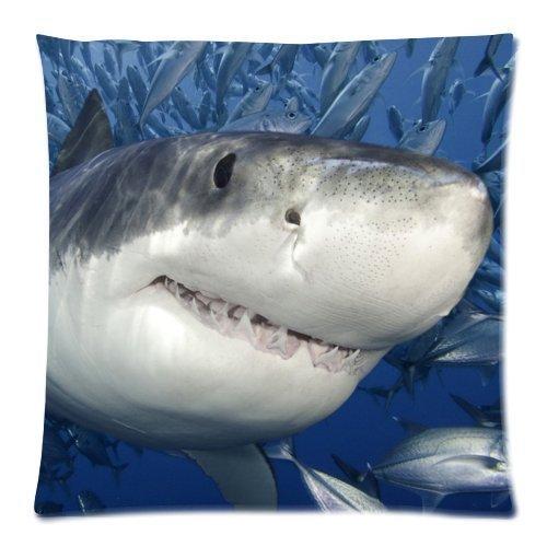 Cushion Case Taie d'oreiller carrée imprimée des deux côtés Grand requin blanc 45 x 45 cm