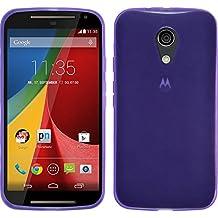 Funda de silicona para Motorola Moto G 2014 2. Generation - transparente púrpura - Cover PhoneNatic Cubierta + protector de pantalla