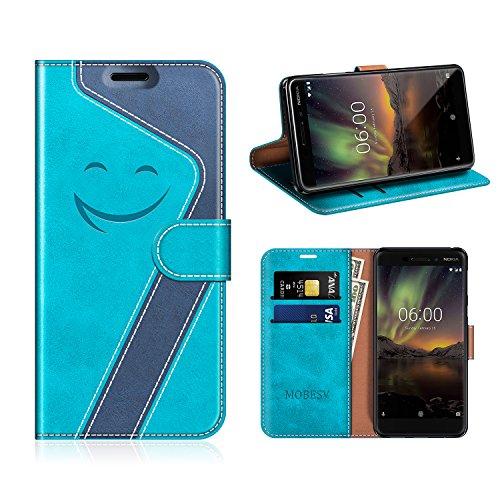 MOBESV Smiley Nokia 6 2018 Hülle Leder, Nokia 6.1 Tasche Lederhülle/Wallet Case/Ledertasche Handyhülle/Schutzhülle für Nokia 6.1 / Nokia 6 2018, Aqua/Dunkel Blau