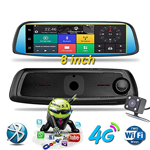 HLKYB Dash Cam 1080P Dual Lens 8 Zoll IPS Touch Screen, Rear View Waterproof Camera 170°Wide Angle with G-Sensor Parking Monitor Motion Detection - Motion Recorder Sensor Voice