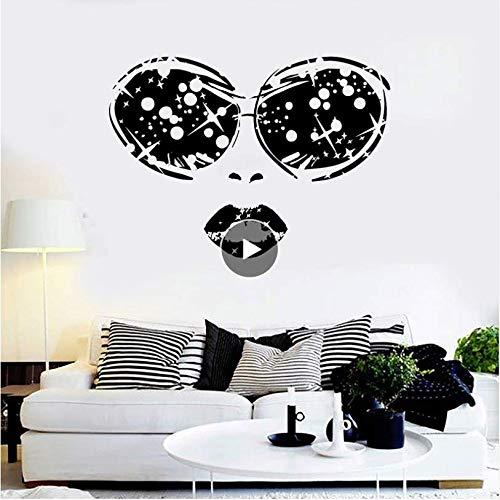 Hyllbb Schönheitssalon Vinyl Wandaufkleber Frau Gesicht Brille Lippen Mädchen Abnehmbare Aufkleber Wohnzimmer Schlafzimmer Dekoration 42 * 58 Cm