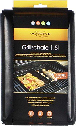 Durandal Grillschale 18x28x3cm | Wiederverwendbare Auflaufform für Elektrogrill, Camping Grill & Holzkohlegrills mit Antihaftbeschichtung | Grill Zubehör