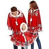 Decha Weihnachten Kostüm Mama & Papa Kinder Kapuze Poncho Asymmetrisch Set Familie Kleidung Party Cosplay Kapuzenmantel Rot Samt Weihnachtsdeko Weihnachten Cape