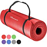 Reehut 12mm NBR Gymnastikmatte + Tragegurt Extra-Dick Rutschfest Phthalatenfrei Unisex Sportmatte für Yoga Pilates Fitness Gymnasitk, 181 x 61 cm (Rot)