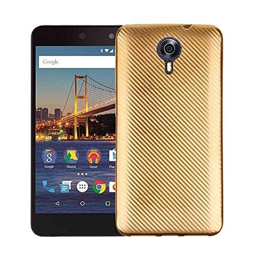 MOONCASE Google General Mobile 4G Hülle, Carbon Fiber Flexible Rüstung Handyhülle Ultra Slim Fallschutz Anti-Scratch Schutztasche Case für Google General Mobile 4G Golden