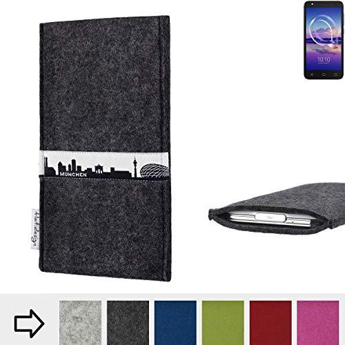 flat.design für Alcatel U5 HD Single SIM Schutzhülle Handy Tasche Skyline mit Webband München - Maßanfertigung der Schutztasche Handy Hülle aus 100% Wollfilz (anthrazit) für Alcatel U5 HD Single SIM