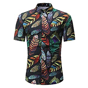Herren Tops,Resplend Männer Slim Fit Revers T-Shirts Sommer Casual Pullover Shirt Drucken Kurzarm Bluse Top Modisch Einfach Poloshirts Freizeithemd