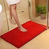 DOTBUY Bad-Teppiche, Chenille Anti-Rutsch-Bequeme Super saugfähiger weicher Duschteppich Dusche Teppich Badematte Bad Teppich (50*80cm, Rot)