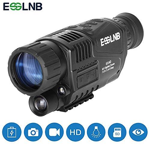 ESSLNB Visore Notturno Monoculare 5X40 Visore Notturno Caccia Infrarosso IR Telecamera Registrazione Immagine e Video Riproduzione Funzione 8GB TF Carta per Caccia