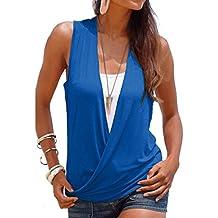 Yying 2 EN 1 Camisa Mujer Top de Verano Mujeres Camiseta Blusas con Cuello V Sin