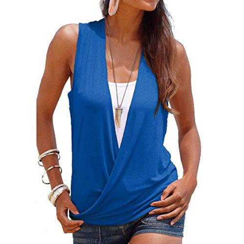 Yying 2 EN 1 Camisa Mujer Top de Verano Mujeres Camiseta Blusas con Cuello V Sin Mangas Contraste Color Adjusto Tops