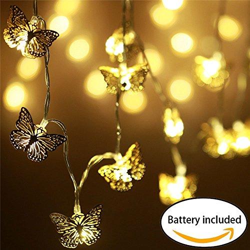 20er LED Lichterkette mit Batterie, Lichterkette innen Kinderzimmer, Deko Schmetterling batteriebetrieben, Weihnachten/ Hochzeit/ Party/ Weihnachtsbaum/ Dekolampe/Halloween, warmweiß (Spiegel-ball-licht)