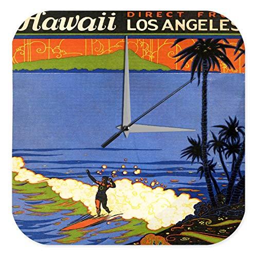 LEotiE SINCE 2004 Wanduhr mit geräuschlosem Uhrwerk Dekouhr Küchenuhr Baduhr Fun Wand Deko Uhr Surfen Hawaii Palmen Strand Acryl Uhr Vintage