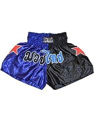 Duo 'STARSPLIT' MUAY THAI y KICKBOXING boxeo artes marciales troncos lucha SHORTS, Niños, color azul y negro, tamaño L