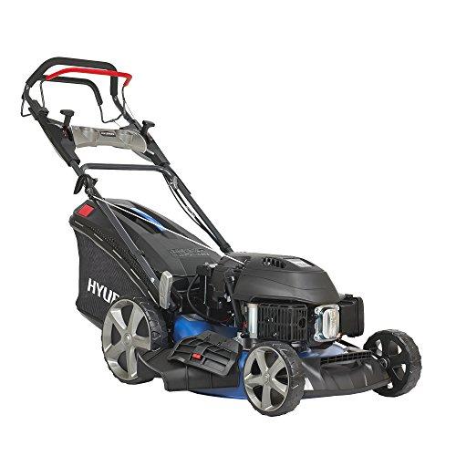 HYUNDAI Benzin-Rasenmäher LM5102G ES (Elektrostart, variabler Radantrieb, Schnittbreite 51cm, sehr starker 3.6kW / 4.8PS Hyundai Motor, 65L Fangkorb, Mulcher, Benzinmäher selbstfahrend)